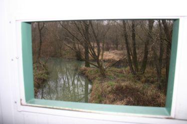 Pogled iz opazovalnice na vidrin habitat.